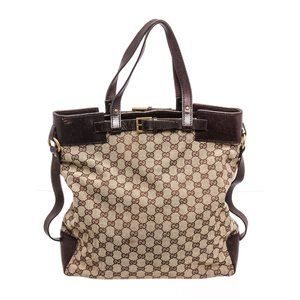 Gucci Brown GG Canvas Leather Buckle Tote Bag